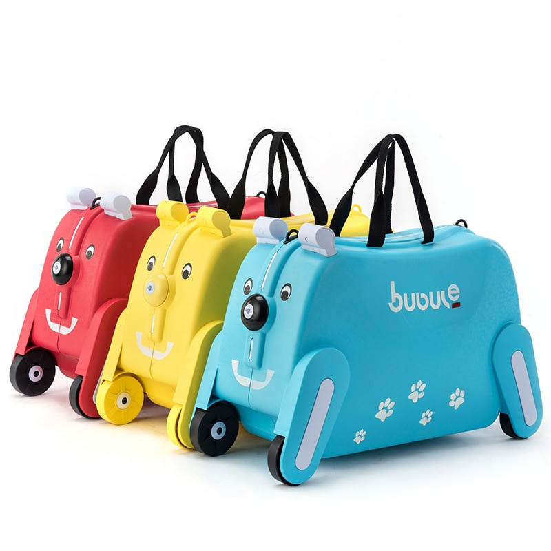 Ride-on Suitcase for kids Carry on Rolling luggage suitcases riding trolley bag for kids wheeled travel baggage for Children